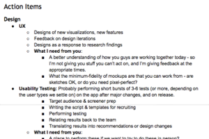 example of a gameplan i put together for both design and research for an early-stage startup